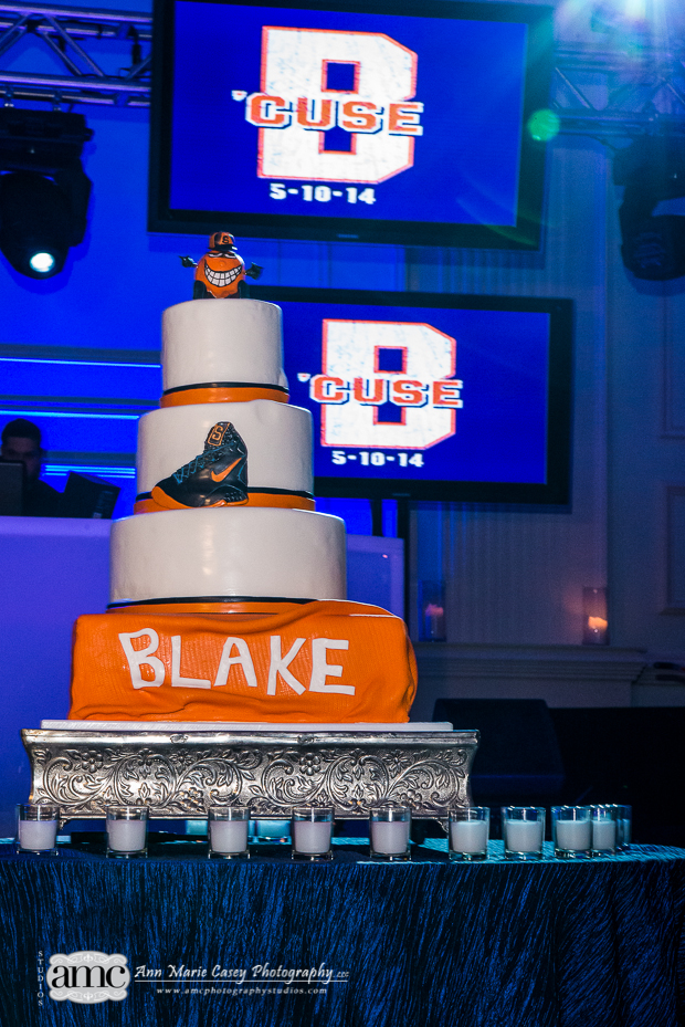 Beautiful Blooms Bar Mizvah Syracuse Theme Anne Marie Casey Orange and Blue Basket Ball Cake