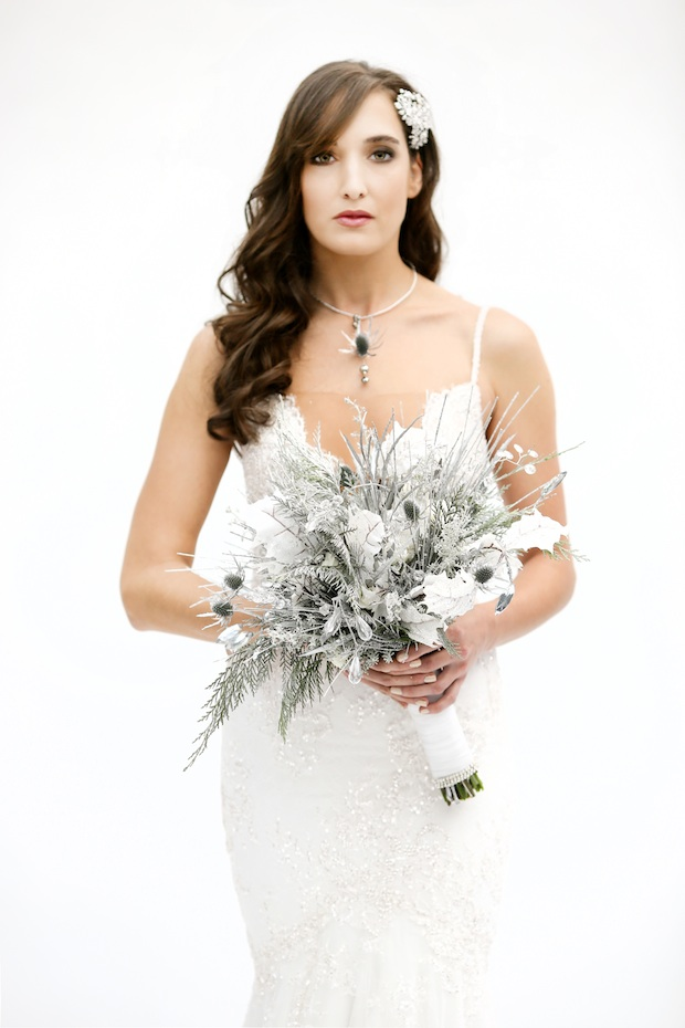 Beautiful Blooms Beke Beau Marie Labbancz Silver White and Bling Bouquet The Wedding Factor, Leaves, Crystals, Roses, Lisianthus, Frosted Leaves
