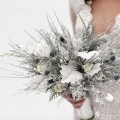 Beautiful Blooms Marie Labbancz Silver and White Bouquet Crystals Glitter Pine Thistle Branches Lisianthus Roses Marie Labbancz Berta Bridal Wedding Factor Beautiful Blooms  copy