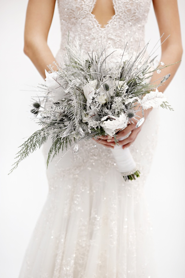 Beautiful Blooms Marie Labbancz Silver and White Bouquet Thistle Bling Roses Lisianthus