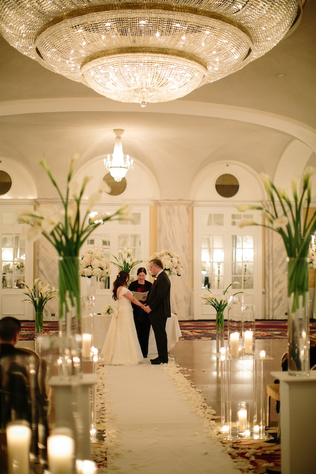 Beautiful Blooms Vow Renewal Ritz Carlton Philadelphia Calla Lilies Tall Centerpieces White Flowers Ceremony Candles Roses Hydrangea Hieu Pham Photography Rebecca Richman Events