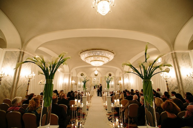 Beautiful Blooms Vow Renewal The Ritz Carlton Philadelphia Candles Calla Lilies Roses Light Pink White Hydrangea Tall Centerpieces Candlelit Ceremony Lucite Stands Hieu Pham Photography