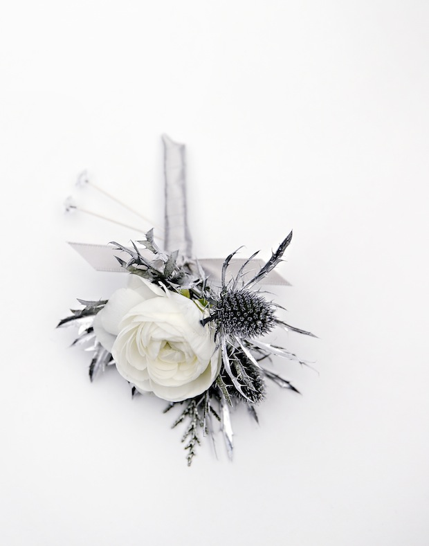 Beautiful Blooms White Boutonniere Silver Ranunculus Thistle Bling