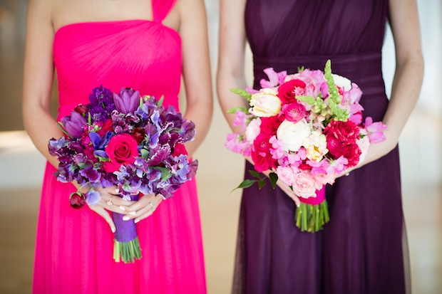 Beautiful Blooms Asya Photography Bridesmaid Bouquets Bright Dresses Purple Pink Snapdragons sweetpeas roses ranunculus Tulips PAFA Truly You Events Starr Events Beke Beau