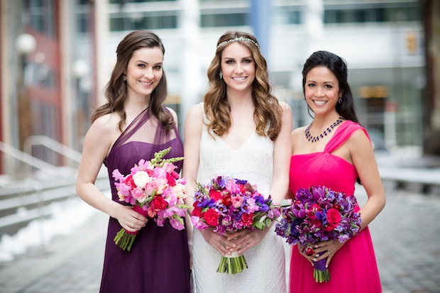 Beautiful Blooms Asya Photography Pink Purple Bridal Bouquets Tulips Peonies Snapdragons Roses Pink Dress Purple Dress PAFA Starr Events
