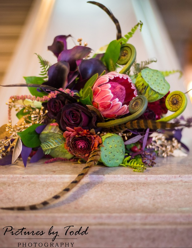 Beautiful Blooms Free Library of Philadelphia Wedding Bouquet Pheasant Feathers Lotus Pods Ranuculus Rose Green Burgundy Purple Pictures by Todd