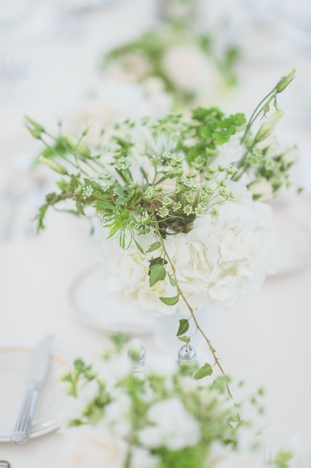 Beautiful Blooms Saucon Valley Country Club Styled Creative Sperry Tent Paper Antler Photography Tented Wedding Outside Garden White and Green Flowers Low Centerpiece Rectangle Tables Clear Chairs Roses Ivy Maidenhair Fern