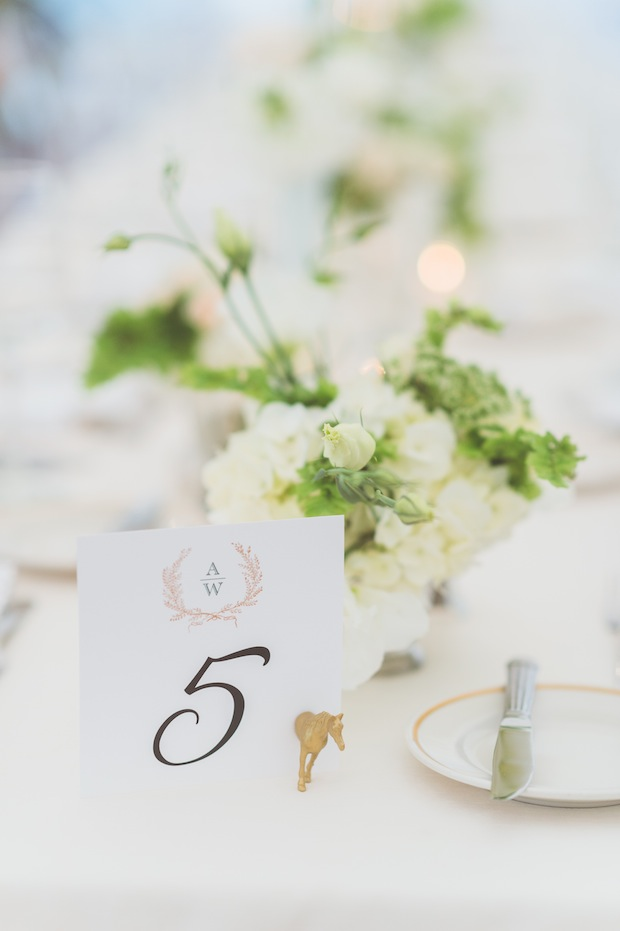 Beautiful Blooms Styled Creative Gold Animal Table Numbers White and Green Low Centerpieces Tented Wedding Sperry Tent Rectangle Tables Ivy Maidenhair Fern Paper Antler Photography Saucon Valley Country Club