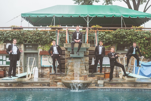 Beautiful Blooms Styled Creative Groom Groomsmen Pool Shot Styled Creative Boutonnieres Spray Roses Greenery Saucon Valley Country Club Paper Antler Photography