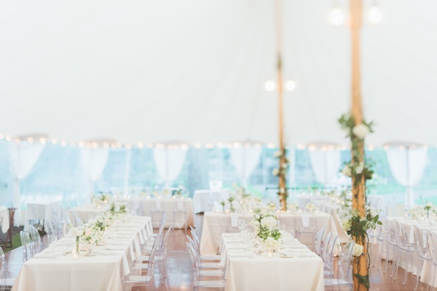 Beautiful Blooms Styled Creative Saucon Valley Country Club Paper Antler Floral Tent Poles Sperry Tent Rectangle Tables White and Green Flowers Floral Tent Poles Roses Ivy