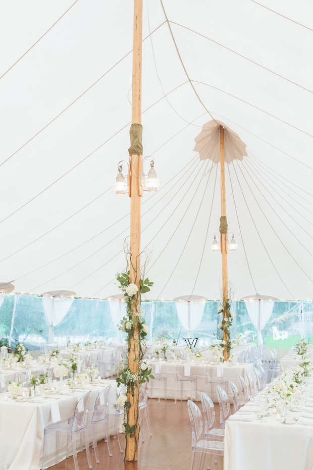 Beautiful Blooms Styled Creative Saucon Valley Country Club Sperry Tent Paper Antler Photography Tented Wedding Outside Garden Rectangle Tables Clear Chairs Floral Tent Poles Roses Ivy Greenery