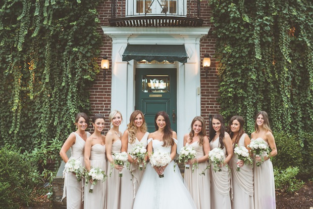 Beautiful Blooms Styled Creative Sperry Tent Bridal Party Bouquets White and Green Roses Ivy Cascade Styled Creative Paper Antler Photography