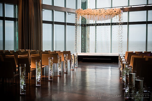 Beautiful Blooms Chuppah One Atlantic Cliff Mautner Wedding White Lucite Dripping Flowers Garlands Orchids Roses Garlands Submerged Orchids Cylinder Aisle
