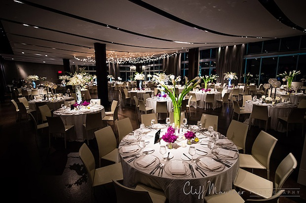 Beautiful Blooms Cliff Mautner One Atlantic Purple and White Wedding Tall Centerpieces Calla Lilies Roses Orchids Beach Wedding Atlantic City