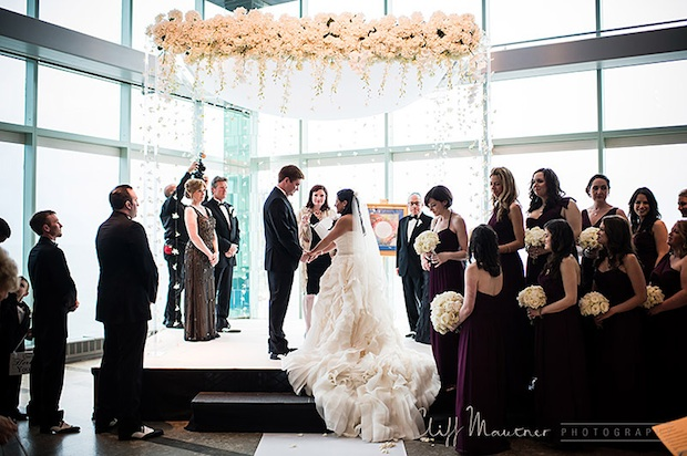 Beautiful Blooms One Atlantic Cliff Mautner Atlantic City Beach Wedding Chuppah Lucite Dripping Flowers Orchids Roses Hydrangea Orchid Strands White and Purple Wedding Aisle Decor Submerged Flowers Orchids Light Up