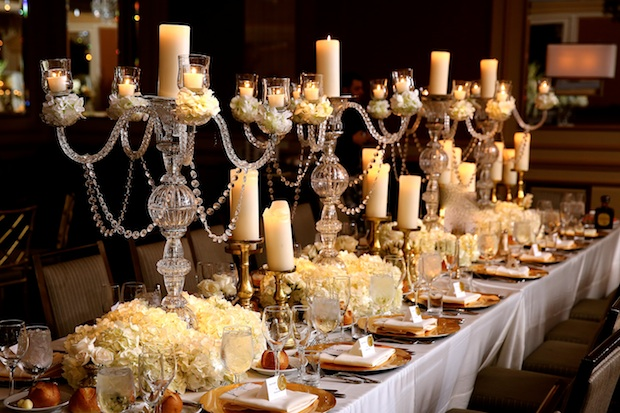 Beautiful Blooms MaxMedia & Art Studio Crystal Candlelabras Crystals Candles Hydrangea Roses Tall and Low Centerpieces Wedding Philadelphia Westin