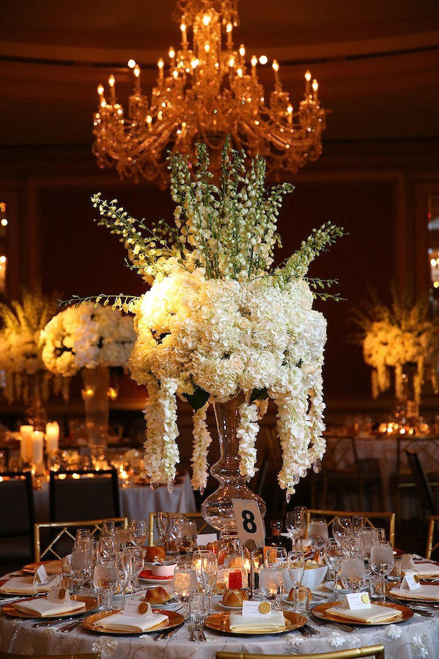 Beautiful Blooms Tall Centerpiece MaxMedia & Art Studio The Westin Philadelphia Wedding Reception White and Ivory Flowers Orchid Garlands Hydrangea Roses Delphinium Lush Full Hanging Crystals