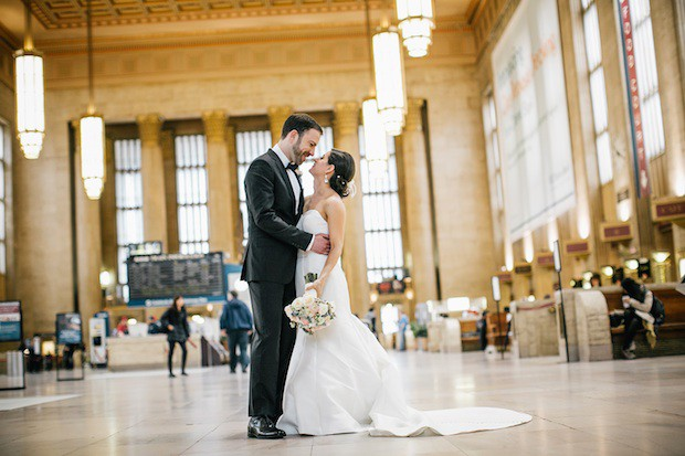 Beautiful Blooms Emily Wren Bridal Bouquet Groom 30th Street Station Train Station Ivory and Peach Bouquet