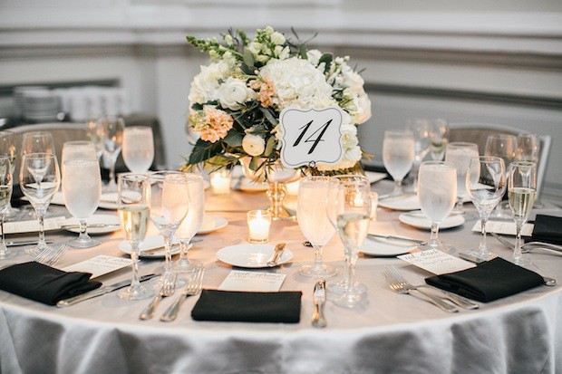 Beautiful Blooms Emily Wren Le Meredien Wedding Reception Silver Bowl Low Centerpiece Hydrangea Roses Stock Greenery Light Peach and Ivory