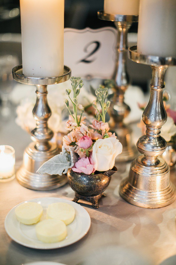 Beautiful Blooms Erin Wren Photography Le Meredien Wedding Reception Low Centerpiece Candles Stock Dusty Miller Silver
