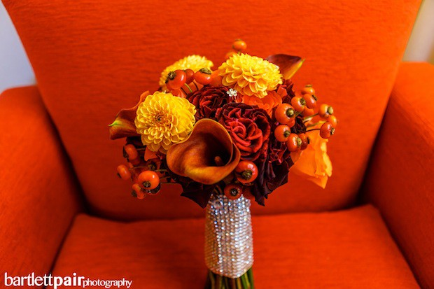 Beautiful Blooms Bartlett Pair Fall Bouquet Curtis Center Dahlia Calla Lily Rose Hips Crystals