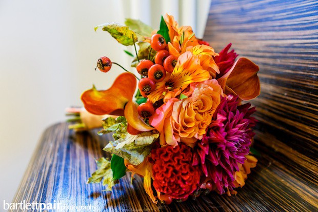 Beautiful Blooms BartlettPair Cescaphe Wedding The Curtis Center Fall Bouquet Orange Magenta Red Calla Lily leaves roses rosehips coxcomb dahlia
