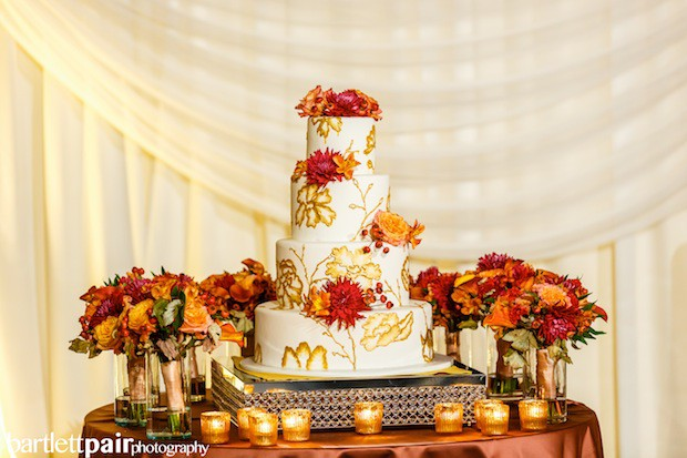 Beautiful Blooms BartlettPair Curtis Center Fall Wedding Cake Autumn leaves berries dahlias copper votives