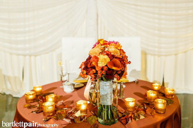 Beautiful Blooms BartlettPair Sweetheart Table Curtis Center Bouquet Vase Leaves Copper Votives Curtis Center