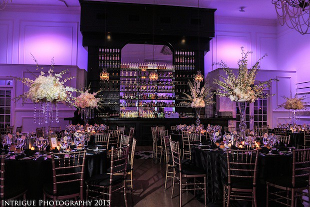 Beautiful Blooms Intigue Photography Cescaphe Ballroom Wedding Tall White Centerpiece Hydrangea Dendrobiums Delphinium Hanging Crystals Purple