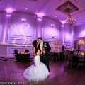 Beautiful Blooms Intrigue Photography Cescaphe Ballroom Wedding Monogram Gobo Purple Uplighting Tall White Centerpieces Sweetheart Table