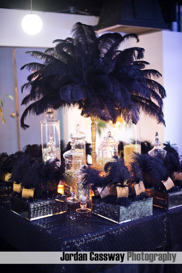 Beautiful Blooms Jordan Cassway Feathers Place Card Table Beads Coins Black Gold B'Nai Mitzvah Mirror Place Cards