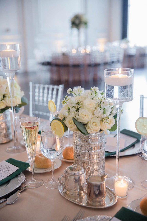 11 Beautiful Blooms Down Town Club Emerald Green Wedding Mercury Glass Floating Candles copy