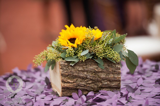 Beautiful Blooms Tyler Boye Phoenixville Foundry Bark container Cocktail Sunflowers Fall Wedding