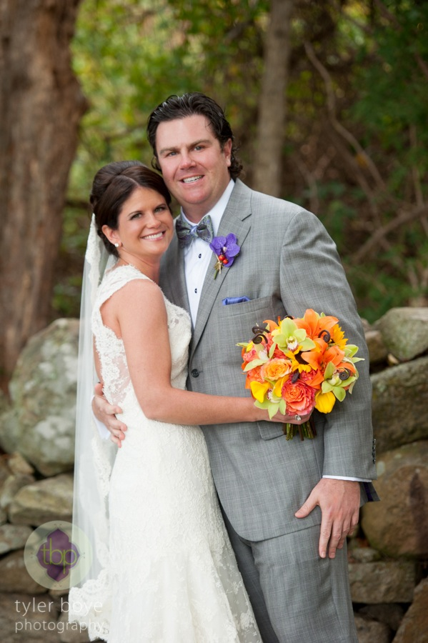 Beautiful Blooms Tyler Boye Phoenixville Foundry Fall Wedding Orange Yellow and Green Bouquet Purple Boutonniere Bow Tie Grey Suit Bride and Groom