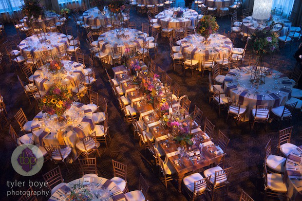 Beautiful Blooms Tyler Boye Phoenixville Foundry Fall Wedding Round and Long Tables Autumn Flowers Tall Centerpieces Blue lighting