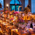 Beautiful Blooms Tyler Boye Phoenixville Foundry Head Table Wedding Metal Wood Centerpieces Orchids Sunflowers Berries Farmhouse Table Candles Copper