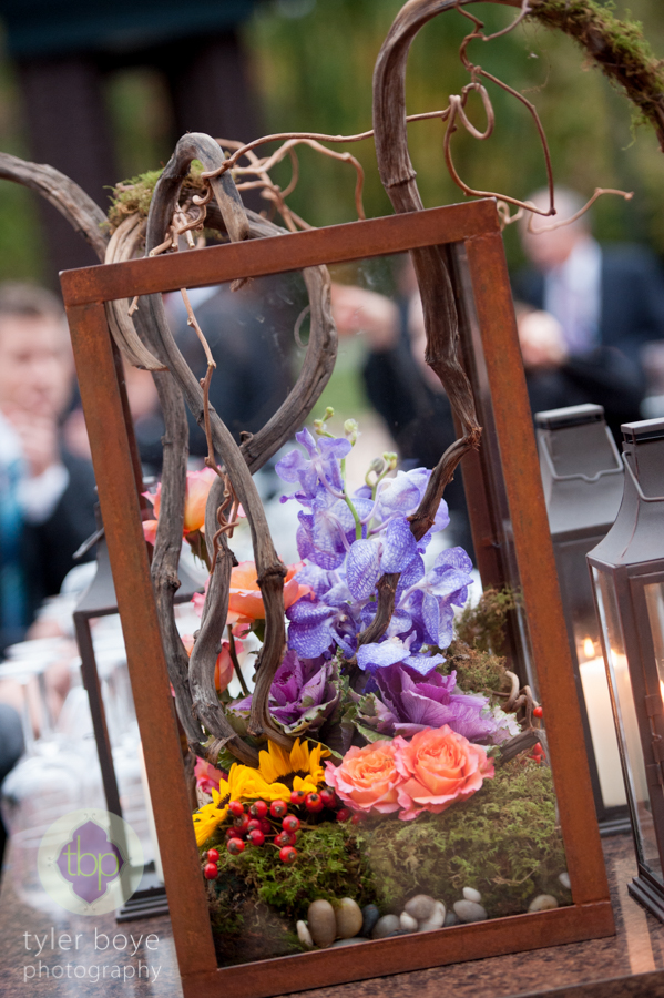 Beautiful Blooms Tyler Boye Phoenixville Foundry Metal Box Cocktail Hour Wedding Branches Orchids Roses Sunflowers Table Arrangment Bar Flowers