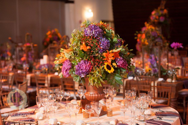 Beautiful Blooms Tyler Boye Phoenixville Foundry Tall Centerpieces Copper Urns Hydrangea Roses Sunflowers Berries Fall Centerpieces Purple Yellow Gold Green Flowers