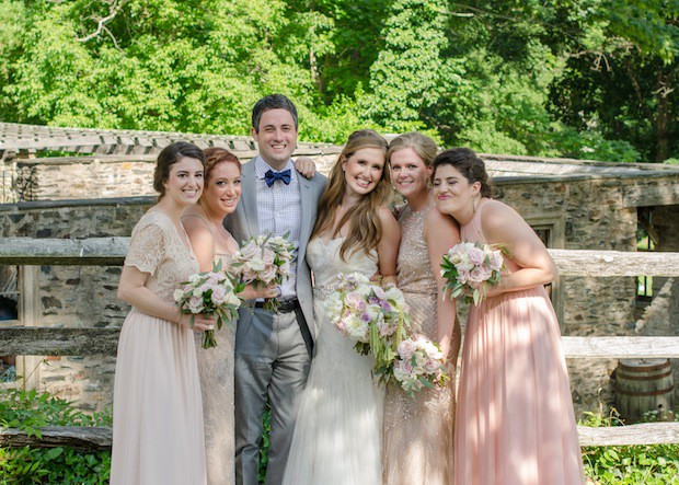 Beautiful Blooms Ginger Fox Photography Bridal Party Outside Wedding Main Line Wedding blush lavender ivory flowers
