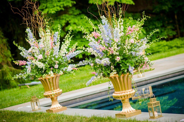 Beautiful Blooms Ginger Fox Photography Large Ceremony Flowers Gold Urns Willow Delphinium Ivy Roses