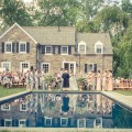 Beautiful Blooms Ginger Fox Photography Private Home Wedding Main Line Outside Ceremony Pool Large Urns Gold Blush Ivory Flowers Wedding
