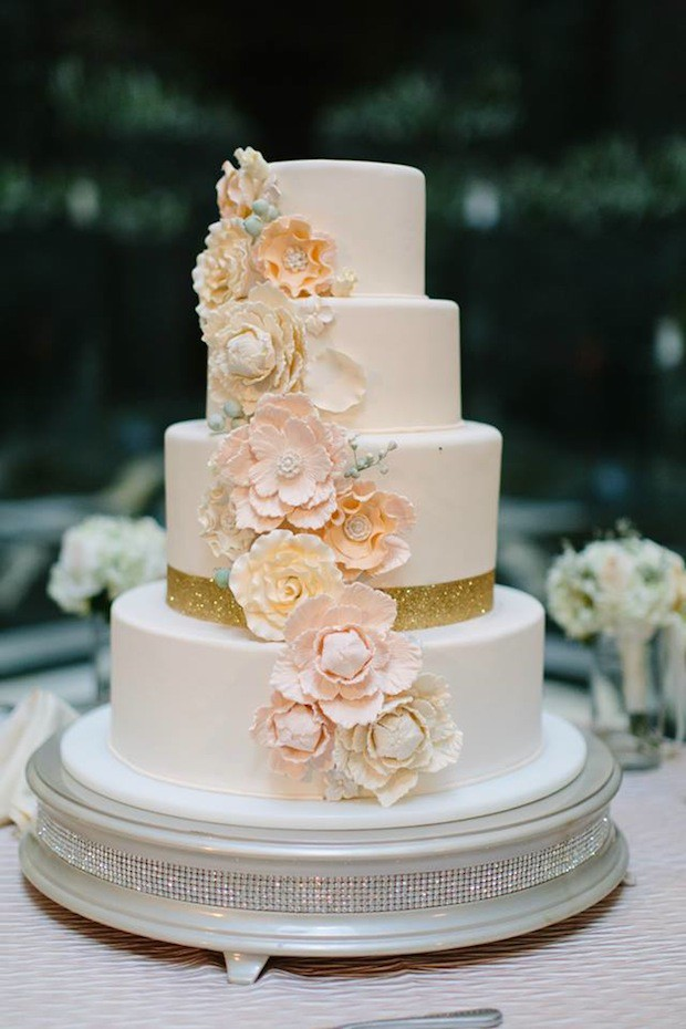 Beautiful Blooms Jessica Cooper  Cake Blush Peach Ivory Gold Sugar Flowers Curtis Center Cescaphe