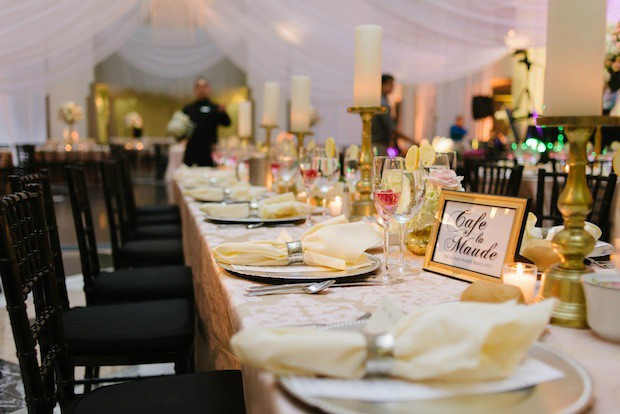 Beautiful Blooms Jessica Cooper Candles Blush and Ivory Flowers Custom Table Numbers Gold Curtis Center Cescaphe Draping
