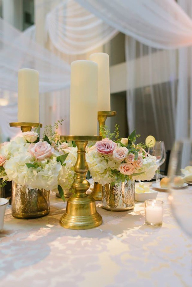 Beautiful Blooms Jessica Cooper Gold Blush Ivory Candle and Flower Centerpiece Wedding Curtis Center Cescaphe Draping Chandeliers