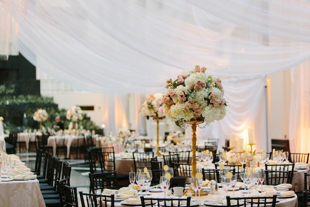 Beautiful Blooms Jessica Cooper Tall Centerpiece Gold Crystals Wedding Ivory Peach Light Pink Hydrangea Roses Spray roses