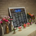 Beautiful Blooms Martin Reardon Photography Place Card Table Chalkboard Wine Bottles Coral Charm Sweetpeas Roses