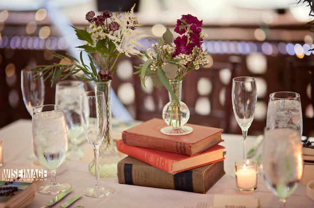 12 Beautiful Blooms Morris House Wedding Tablescape Books Vintage Bud Vase Eclectic Romantic