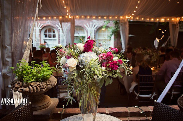14 Beautiful Blooms Morris House Wedding Natural Organic Romantic Blue Fuchsia Ivory Green Centerpiece
