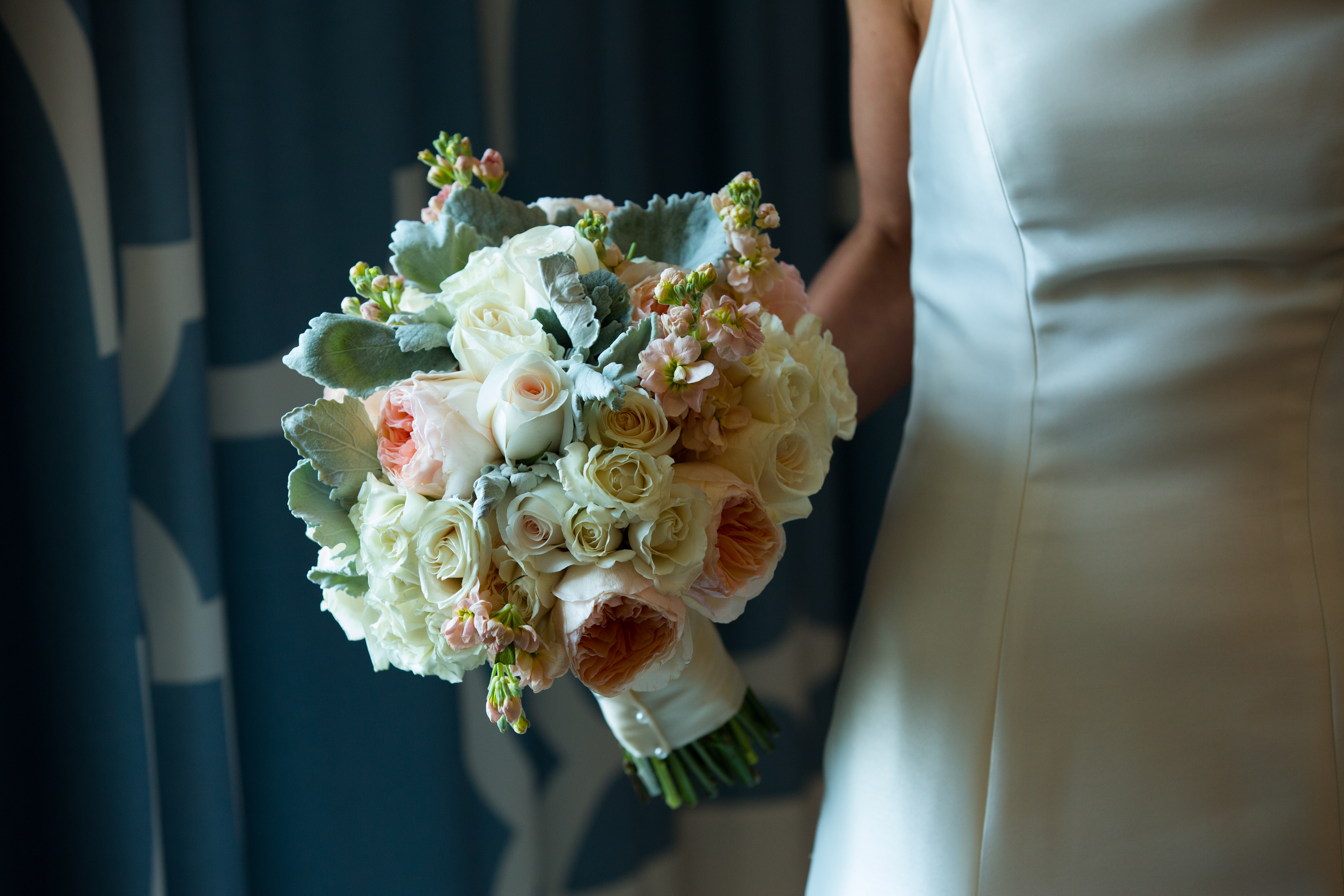 Beautiful Blooms Cinematic By David M Peach And Ivory Bouquet Garden Roses  Stock Dusty Miller Bridal