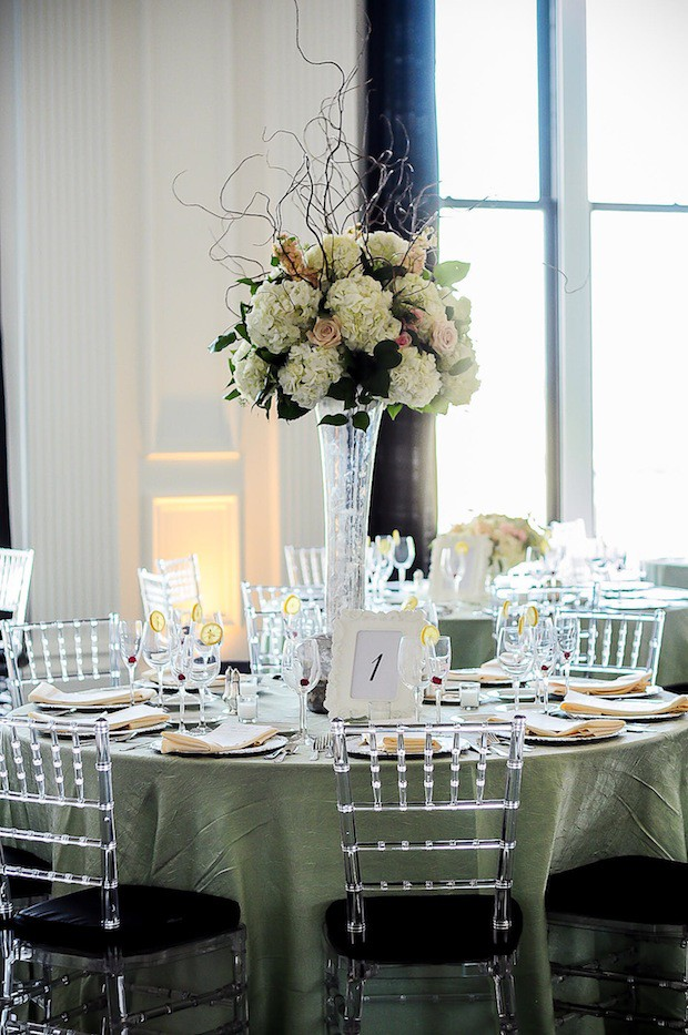 Beautiful Blooms Rachel Wassum Photography The Down Town Club Tall Centerpieces Silver Mercury Curly Willow